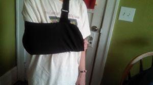 Tamara wearing her sling
