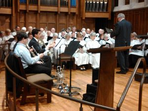Grace Covenant Presbyterian and First Presbyterian churches of Asheville preparing for the Hymn Fest.