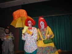 Raindrop at clown graduation (left middle)