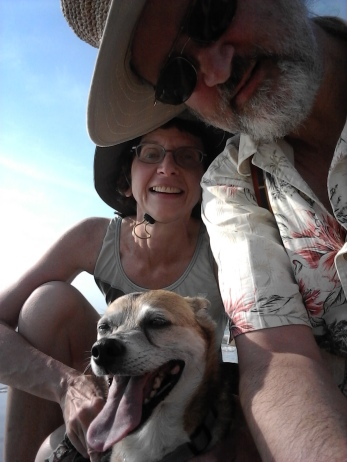Michael and me with Sparky at the beach