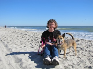 me and Sparky at the beach